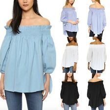 Plus Size 8-22 Women Off Shoulder Long Sleeve T Shirt Loose Boho Sexy Tops Tee