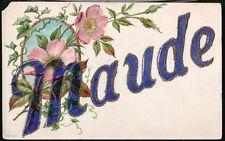 MAUDE Large Letter Antique Glitter Postcard Pink Roses Old Vintage Big