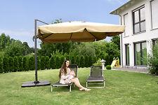 Alu Sonnenschirm Ampelschirm 300 x 300 cm Kurbel Markt Gartenschirm Sonnenschutz
