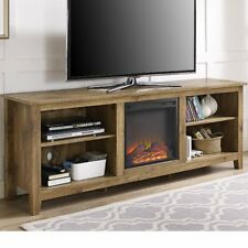 "Fireplace TV Stand Space Heater 70"" Television Center Media Storage Barn Wood"