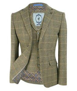 Men Tan Brown Wool Check Herringbone Tweed Suit Jacket Vest Waistcoat Trousers