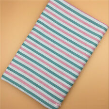 50x 150cm Cotton Linen Fabric DIY Craft Material Green Pink Line F