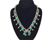 Navajo Sterling Silver And Turquoise Sqash Blossom Necklace