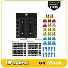 10-Way Blade Fuse Box Block Holder With Protection Cover Led Indicator Universal