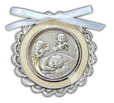 Crib Medal Guardian Angels Baby Baptism Salerni Sterling Silver White Bow Boxed