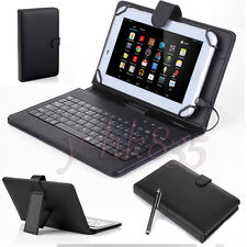 """Black PU Leather Stand Case Cover w/ Micro USB Keyboard For 7""""-8"""" Tablet eReader"""