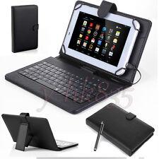 """Negro Cuero PU De pie Estuche Cubierta Con Teclado Micro Usb Para Tablet 7"""" -8"""" eReader"""