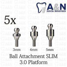 5 Regular Ball Attachment for Slim 3.0 mm platform dental Implant Free Ship