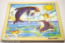 "DOLPHINS 20pc Jigsaw Wood Puzzle 8""x8"" Educational Toy Wooden Wood Crafted Game"