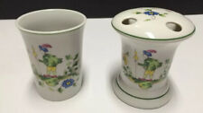 Vintage Mann 1976 Toothbrush Holder Porcelain Tumbler Cup Mug Set Green Trim