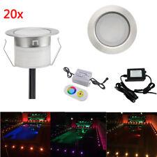 20pcs DC12V RGB Stainless LED Deck Light Garden Stair Yard Mall Outdoor Lamp Kit