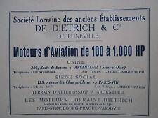 1922 PUB LORRAINE DIETRICH MOTEUR AVIATION AERO ENGINE ORIGINAL FRENCH AD