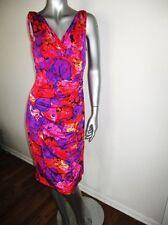 RALPH LAUREN Pink Purple Orange Floral Ruched Dress 12