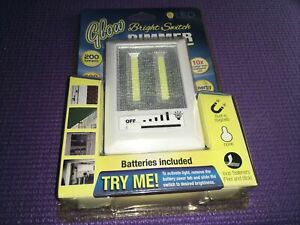 Glow Bright Switch With Dimmer LED Mount's 3 Ways Batteries Included NEW Sealed