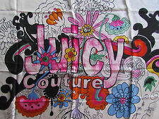 """Juicy Couture Scarf Watercolor Flower Power Boho 36"""" Silk Square NWD"""