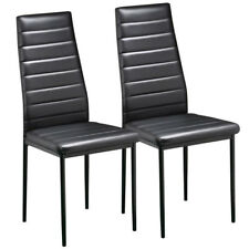 2pcs Modern Stylish Faux Leather Dining Chair Metal Seat Kitchen High Back UK