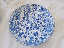"""Cobalt Swirl Blue Enamelware Graniteware Golden Rabbit 10"""" Plate Platter Dish"""