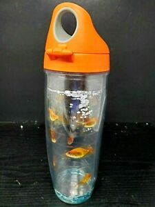 Goldfish Tumbler Water Bottle  And Orange Lid Outdoor Sports 24 Oz Clear