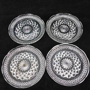 """Lot of 4 Cut Glass Plates 6"""" Salad Dessert Bread Ruffled Edge Blossom Pattern"""