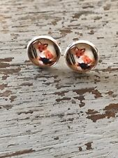 RED Fox Animal  Cabochon Silver Stud Earrings 12mm