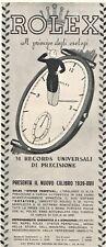 PUBBLICITA' 1939 OROLOGIO ROLEX OYSTER PERPETUAL MODELLO CARATTERISTICHE RECORD