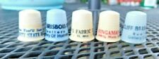 FIVE VINTAGE PLASTIC SEWING THIMBLES ALL ADVERTISINF KANSAS CITY