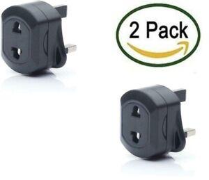 European/USA / AUS 2 Pin to UK 3 Pin Plug Adaptor BLACK Travel Adapter PACK OF2
