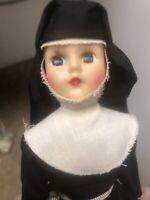 "Vintage Nun Sister Doll Black Habit Catholic with cross 9""Sleepy Eyes"