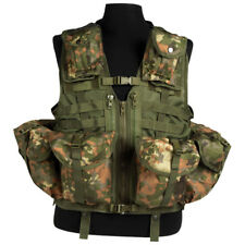 TACTICAL VEST MODULAR MOLLE SYSTEM 8 POCKETS AIRSOFT COMBAT FLECKTARN CAMOUFLAGE