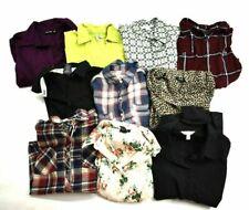 Wholesale Bulk Lot 10 Womens Medium Button Front Tops Career Blouse Shirts