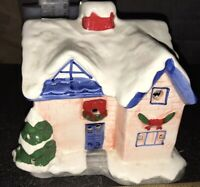Vintage Ceramic Village House Holiday Christmas wreath lights illuminated blue