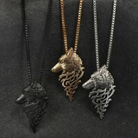 Mens Long Chain Necklace Wolf Head Pendant Fashion Vintage Boys Cool Chain