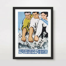 NORTH KOREAN KOREA PROPAGANDA POSTER Art Print Three Fists Pyongyang Wonsan DPRK