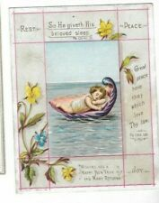 VINTAGE HAPPY NEW YEAR CARD CAMPBELL & TUDHOPE GLASGOW CHILD IN SHELL ON THE SEA