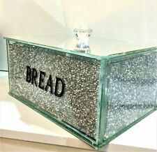 Silver Crushed Diamond Crystal Mirrored Bread Bin Container