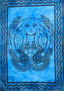 Small Poster Lady Face Design Tapestry Wall Hanging Cotton Table Cover Indian