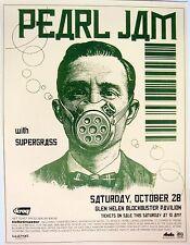 PEARL JAM / SUPERGRASS GLEN HELEN, CA 2002 CONCERT TOUR POSTER - Man In Gas Mask