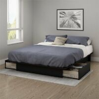 South Shore Gramercy Full Queen Platform Bed with Drawer in Black