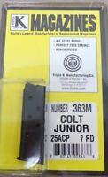 Colt Junior Model .25 ACP 7 Round RD Blued Steel Magazine/Mag Triple K 363M