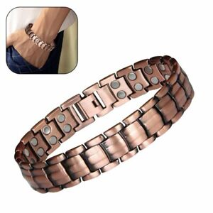 Red Copper Double Strong Magnetic Therapy Bracelet For Arthritis Pain Relief @I
