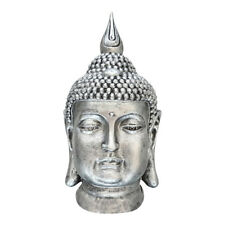 großer Buddha Kopf Figur Feng Shui DEKO Lotus Asia frostsicher S082 antik Silber