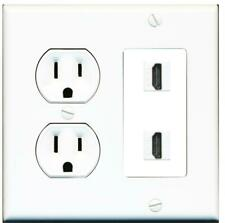 15 Amp Round Power Outlet 2 Port HDMI Combination Wall Plate - White