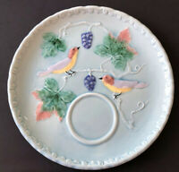 Vintage Birds and Grapes Majolica Turquoise Salad Snack Plate Western Germany
