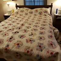 Vintage Handmade Flower Garden Patchwork Quilt Bedspread Queen 84x76