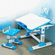 Height Adjustable Kids Study Desk Chair Set Children Table w/Lamp+Drawer Blue