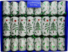 Box of 8 Contemporary Christmas Tree Christmas Crackers with Glass Animals