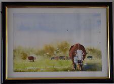 Original Watercolour Painting - Cows grazing