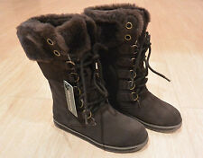 NIB Emu Australia Women's Featherwood Hi Merino Wool Boots Chocolate Brown Sz 5M