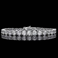10 Carat Real Round Moissanite Tennis Bracelet 14k White Gold GP Jewelry Sizable