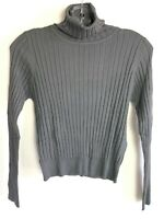 New Zara Ribbed Knit Sweater Turtleneck Fitted Sweater Gray Sz L